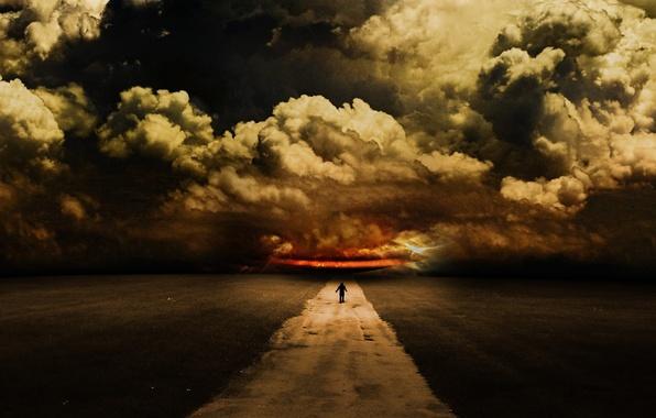 Картинка дорога, небо, тучи, человек, арт, abdelrahman