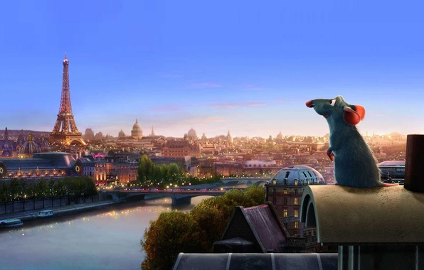 Картинка мультик, Париж, рататуй, мышь
