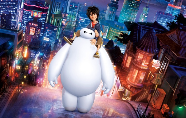 Картинка ночь, город, огни, улица, мультфильм, робот, мальчик, Big Hero 6, Baymax, Город героев, Hiro Hamada, …