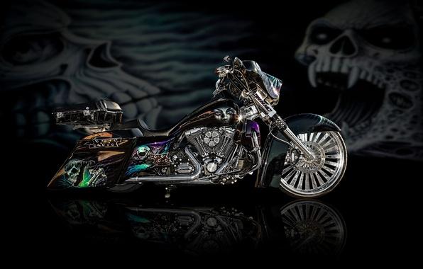 Картинка дизайн, стиль, фон, мощь, мотоцикл, аэрография, байк