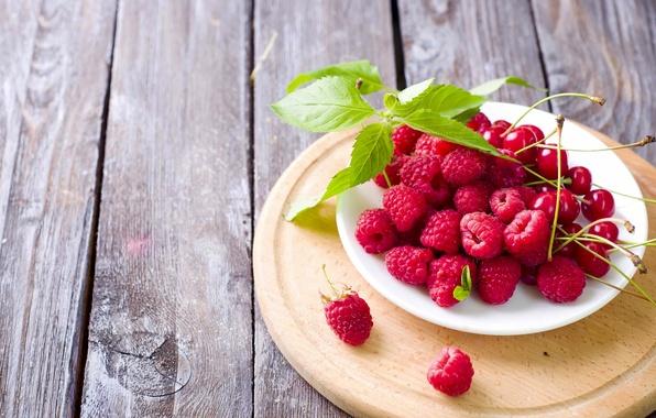 Картинка вишня, ягоды, малина, доски