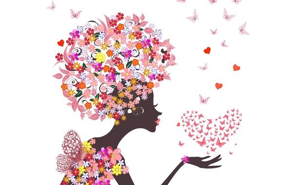 Картинка девушка, бабочки, цветы, абстракция, сердечки, girl, flowers, hearts, abstraction, butterflies