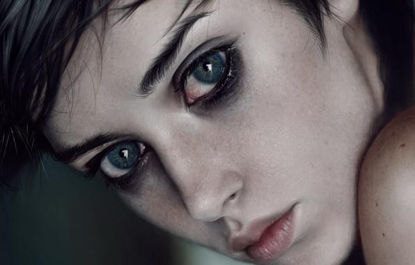 Картинка глаза, взгляд, девушка, лицо, красота, арт, губы, красавица, милашка