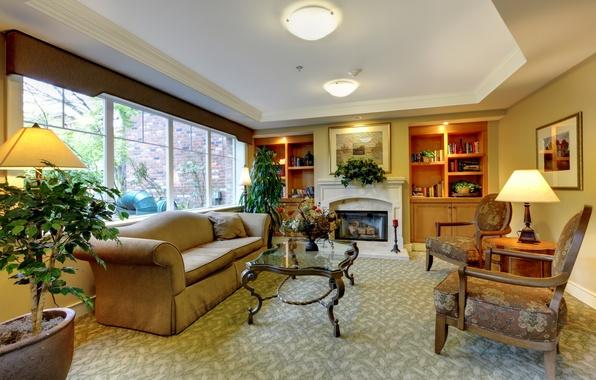 Картинка дизайн, стиль, диван, кресло, камин, столик, гостиная