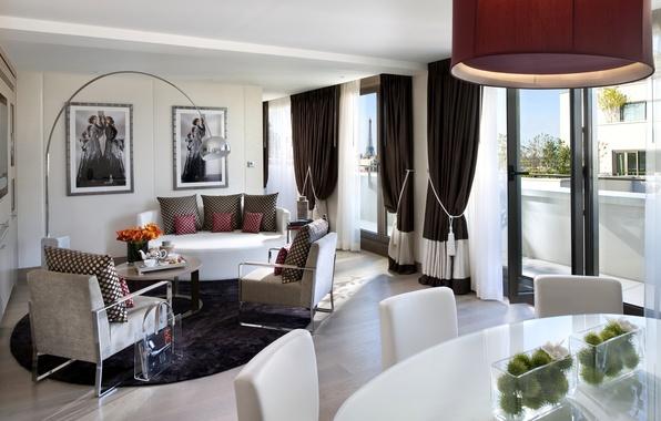Картинка белый, цветы, дизайн, стиль, стол, комната, диван, Париж, лампа, стулья, интерьер, светлый, подушки, кресла, картины, …