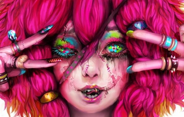 Картинка девушка, кольца, пирсинг, арт, кавай, розовые волосы, шрамы, genki-de