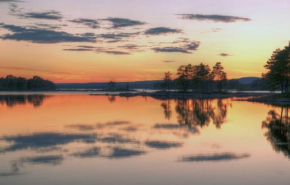 Картинка небо, деревья, закат, горы, озеро, вечер