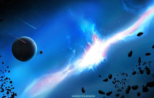 Картинка звезды, луна, планета, свечение, астероиды