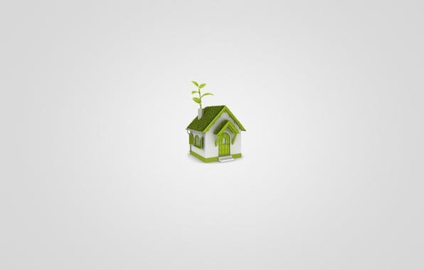 Картинка белый, трава, листья, зеленый, дом, минимализм, домик, светлый фон