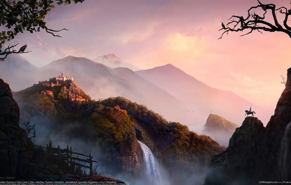 Картинка дорога, горы, восход, замок, забор, водопад, герой, всадник, Golden Sunrise in Fairy Land, stas lobachev