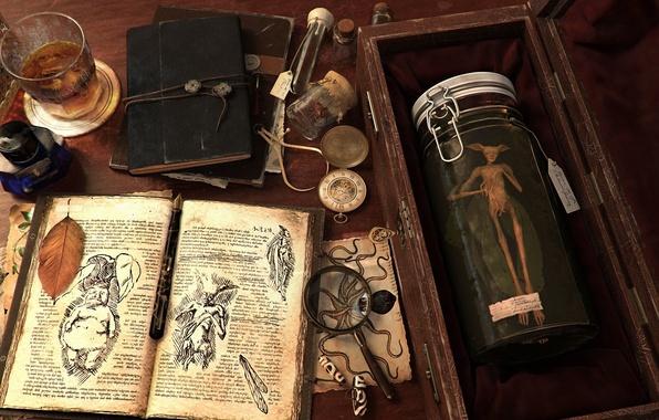 Картинка стакан, стол, существо, арт, банка, книга, записи, лупа, виски, исследование, лаборатория