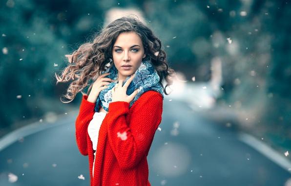 Картинка снежинки, макияж, в красном, боке, Alessandro Di Cicco