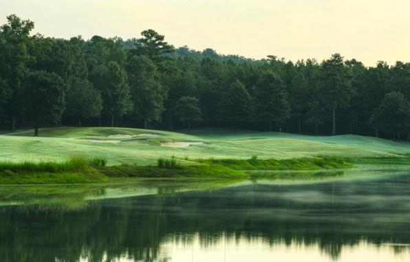 Картинка трава, вода, деревья, природа, озеро, река, дерево, холмы, поляна, пейзажи, луг, леса, реки, лужайка, озёра, …