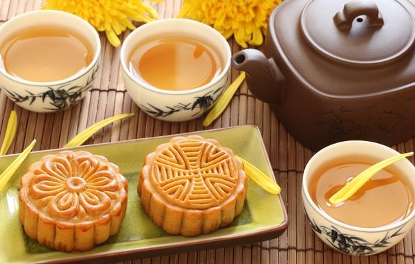 Картинка цветы, зеленый, чай, чайник, печенье, чаепитие, чашки, пирожное, хризантемы, десерт, китайский