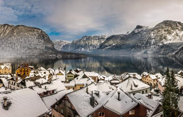 Картинка зима, горы, озеро, дома, Австрия, крыши, Альпы, панорама, Austria, Hallstatt, Alps, Гальштатское озеро, Гальштат, Lake …