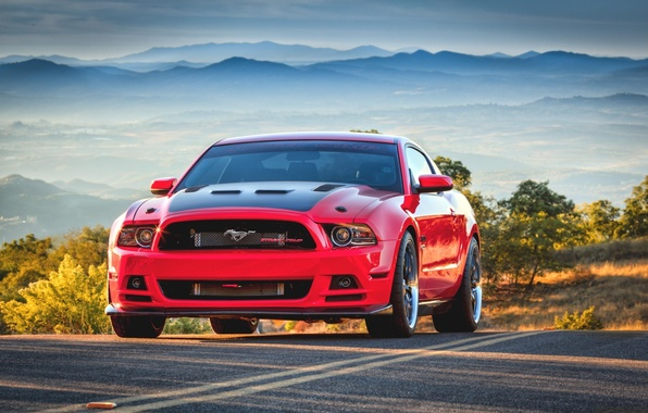 Картинка красный, Mustang, red, ford, tuning, muscle car, street, масл кар