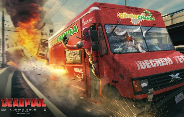 Картинка дорога, взрыв, фургон, Deadpool, fan art, marvel comics