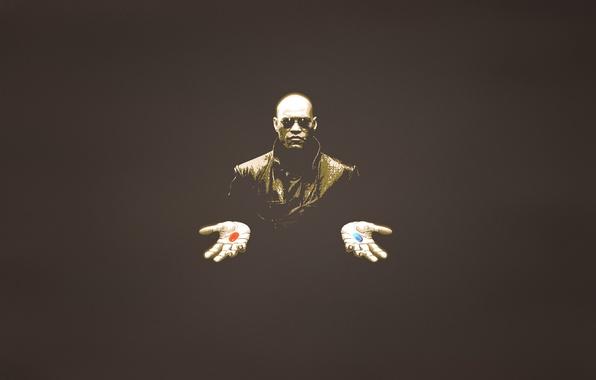 Картинка человек, минимализм, руки, очки, таблетки, матрица, matrix, красная, синия, Laurence Fishburne, Лоуренс Фишборн, темноватый фон, …