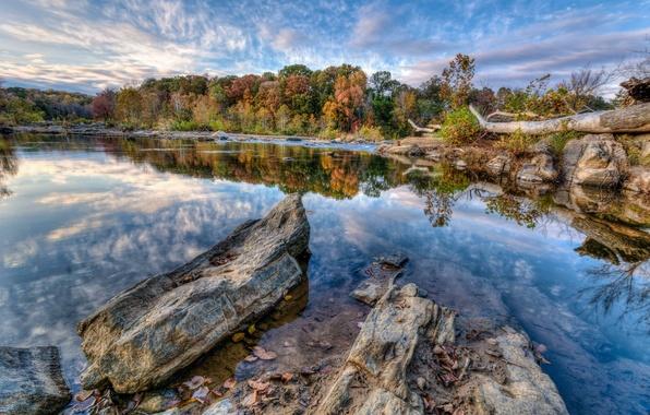 Картинка осень, небо, облака, деревья, озеро, камни