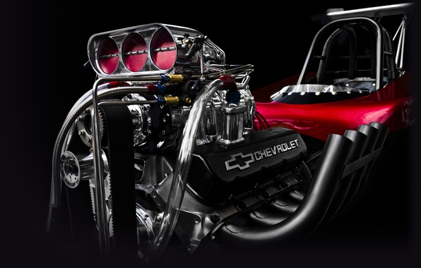 Картинка двигатель, Corvette, Chevrolet, движок, мотор, хот род