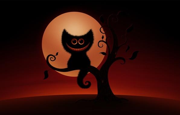 Картинка кот, улыбка, дерево, рисунок