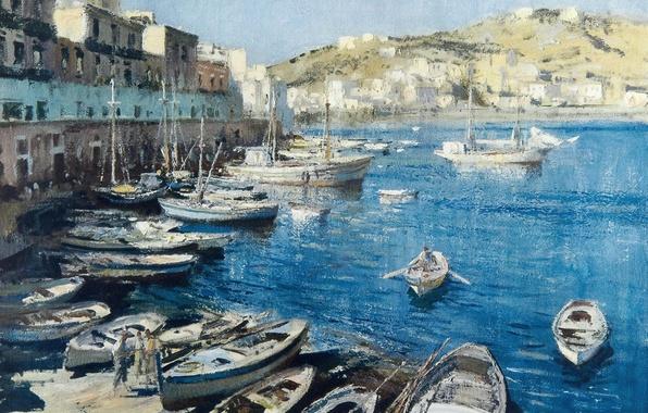 Картинка дома, картина, лодки, набережная, городской пейзаж, Эдуард Сиго, Средиземноморский Порт