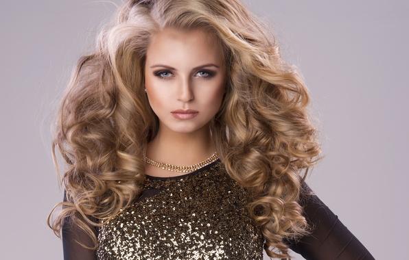 Картинка взгляд, лицо, стиль, фон, модель, волосы, Девушка, платье, причёска