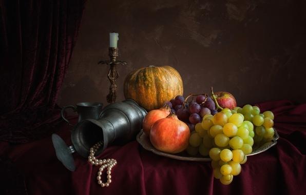Картинка яблоко, свеча, ожерелье, виноград, тыква, кувшин, натюрморт, гранат