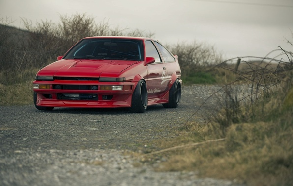 Картинка Красная, Red, Toyota, AE86, Тойота, Corolla, Королла