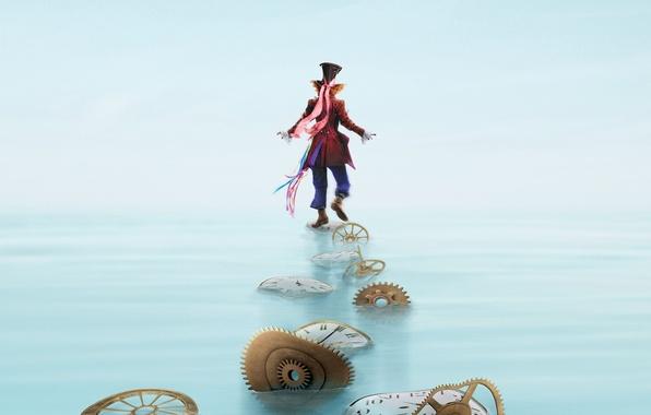 Картинка вода, Johnny Depp, часы, шляпа, фэнтези, костюм, шестеренки, Джонни Депп, постер, цилиндр, персонаж, запчасти, Mad …