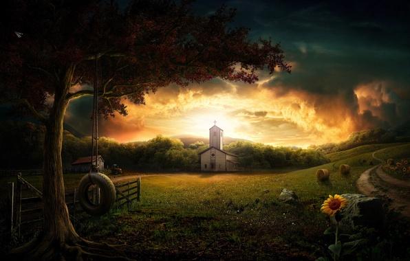 Картинка качели, дерево, рассвет, церковь