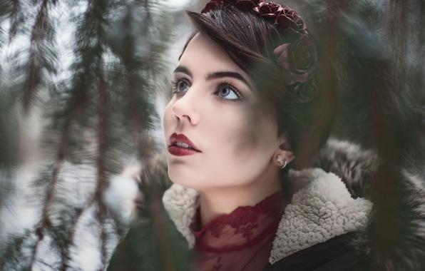 Картинка девушка, портрет, макияж, брюнетка