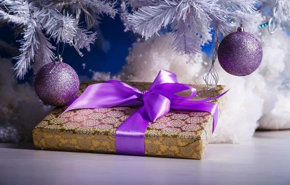 Картинка Лента, Новый Год, Ветки, Шарики, Бантик, Праздники, Подарки