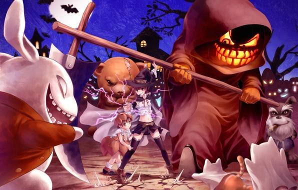 Картинка кот, звери, молния, девочки, кролик, медведь, коса, ужас, misaka mikoto, halloween, to aru kagaku no …