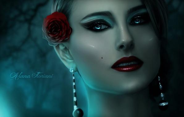 Картинка цветок, взгляд, девушка, лицо, роза, кукла, макияж, арт, фарфор