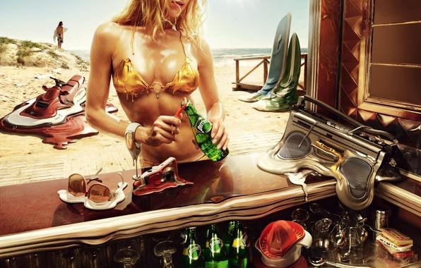 Картинка пляж, лето, девушка, жара, выпивка, жаркое лето