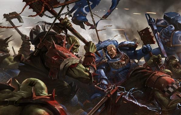 Картинка Warhammer, орки, space marine, десантники, Warhammer 40K, WH40K, Eternal Crusade