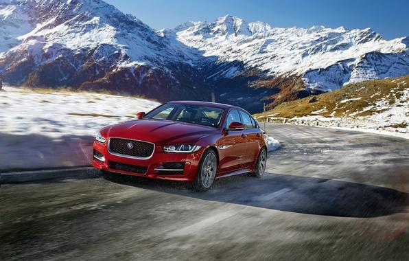 Картинка дорога, снег, горы, Jaguar, ягуар, R-Sport