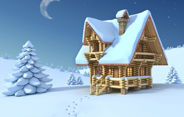 Картинка зима, небо, снег, ночь, следы, настроение, луна, настроения, дома, минимализм, месяц, арт, домики