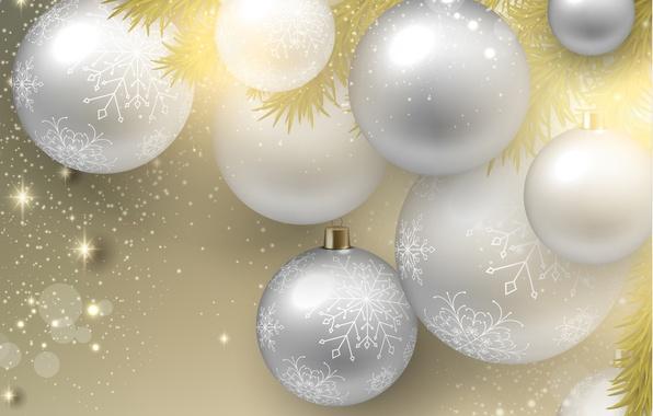 Картинка снежинки, шары, новый год, блестки, new year, snowflakes, balloons, glitter, веточки елки, twigs of trees