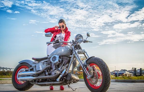 Картинка девушка, мотоцикл, Harley Davidson, байк, харлей