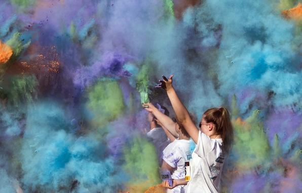 Картинка праздник, дым, цвет, пыль