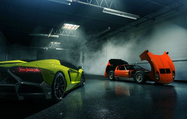 Картинка Lamborghini, Orange, Green, Miura, Aventador, Supercars, LP720-4, 50 Anniversario
