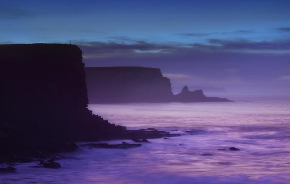 Картинка море, пейзаж, обрыв, рассвет, берег
