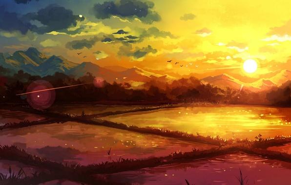 Картинка небо, вода, облака, закат, горы, птицы, природа, поля, арт, natsukijia, jia