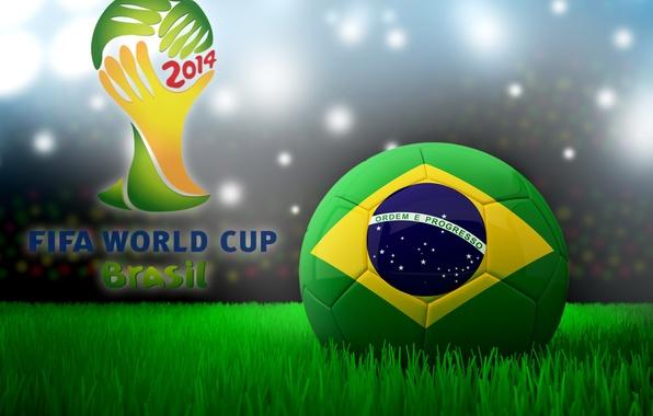 Картинка футбол, мяч, Бразилия, football, flag, кубок мира, World Cup, Brasil, FIFA, 2014