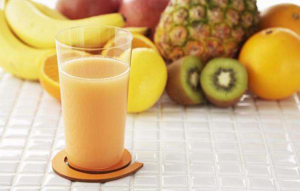 Картинка стакан, яблоко, апельсин, еда, киви, сок, фрукты, ананас, банан, натуральный
