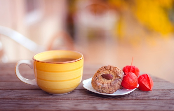 Обои картинки фото чашка желтая чай