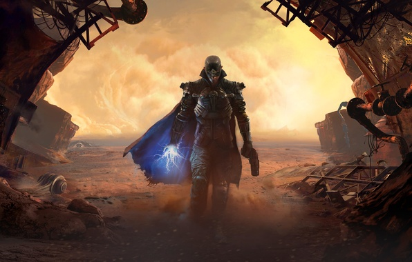 Картинка песок, трубы, пистолет, оружие, пустыня, дым, рисунок, маска, броня, боец, плащ, ток, Focus Home Interactive, …