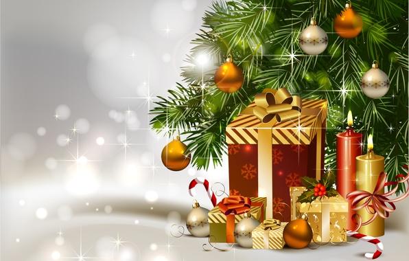 Картинка украшения, шары, елка, свечи, подарки, Ёлка, gift, Christmas tree, candle
